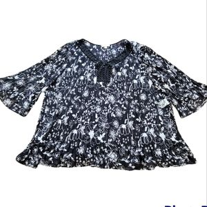 Woman Within Floral Black Accordion Blouse - Size 4XL 34/36